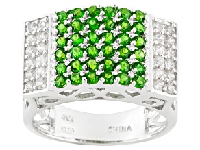 Green Chrome Diopside And White Zircon Sterling Silver Ring 1.32ctw