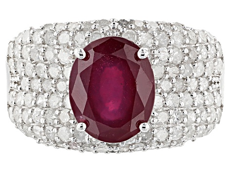 Red Ruby Silver Ring 4.12ctw