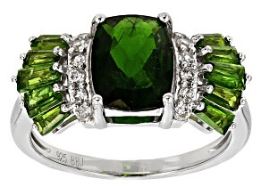 Green Chrome Diopside Sterling Silver Ring 2.90ctw