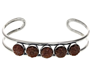Red Mexican Opal Sterling Silver Bracelet.