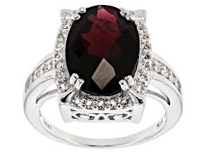 Red Garnet Sterling Silver Ring 6.32ctw