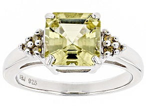 Yellow apatite sterling silver ring 2.18ctw