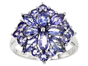 Blue tanzanite sterling silver ring 2.29ctw