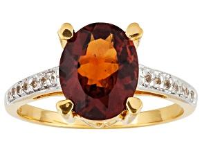 Womens Solitaire Ring Hessonite Garnet White Topaz 18k Gold Over Silver