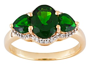 Chrome Diopside 18k Yellow Gold Over Sterling Silver Ring 2.28ctw