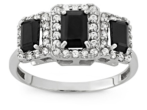 Black Onyx And Synthetic White Sapphire Sterling Silver Ring 1.70ctw