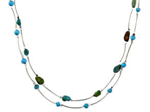 Turquoise Sterling Silver Over Brass Necklace