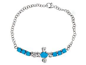 Blue Turquoise Sterling Silver Cross Bracelet