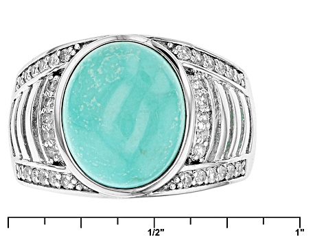 Blue Sleeping Beauty Turquoise Sterling Silver Ring .42ctw