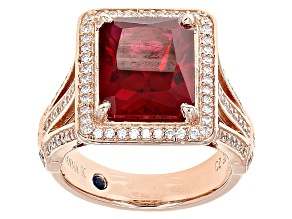 Red Synthetic Sapphire And White Cubic Zirconia 18k Rg Over Silver Ring 5.29ctw