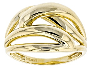 10k Yellow Gold Hollow Overlap Band Ring