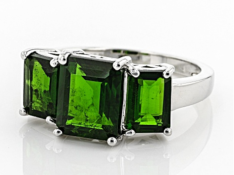 Green Chrome Diopside Sterling Silver Ring 4.52ctw