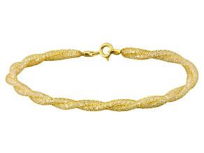 17.25ctw Cubic Zirconia 14k Yellow Gold Twisted Bracelet 7.5 inch
