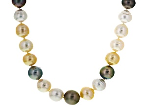 Cultured South Sea Pearl, Cultured Tahitian Pearl 14k Gold Necklace