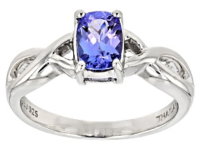 Blue Tanzanite Sterling Silver Solitaire Ring .74ct