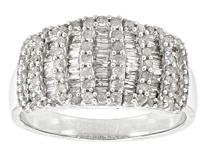 Rhodium Over Sterling Silver Diamond Ring .84ctw