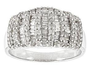 Rhodium Over Sterling Silver Diamond Ring .84ctw