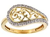 White Diamond 14k Yellow Gold Over Sterling Silver Ring .16ctw
