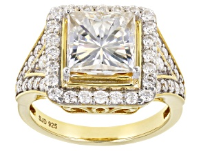 Moissanite 14k yellow gold over sterling silver ring 3.98ctw DEW