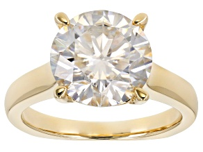 Moissanite 14k Yellow Gold Over Silver Ring 4.75ct DEW