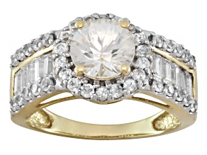 2.81ctw Round And 1.20ctw Baguette White Zircon 10k Yellow Gold Ring