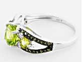 Green Peridot And Green Diamond Sterling Silver Ring 2.05ctw.