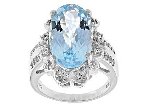 Sky Blue Topaz Sterling Silver Ring 9.38ctw