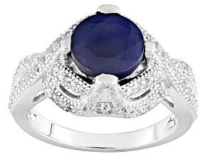 Blue Sapphire Sterling Silver Ring 2.76ctw