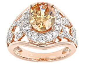 Brown And White Cubic Zirconia 18k Rose Gold Over Sterling Silver Ring 5.71ctw
