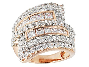 Cubic Zirconia 18k Rose Gold Over Sterling Silver Ring 5.35ctw