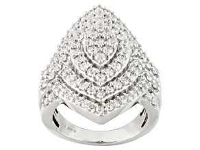 Cubic Zirconia Silver Ring 3.72ctw (1.94ctw DEW)