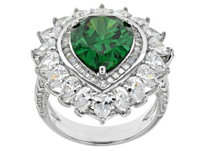 Green And White Cubic Zirconia Rhodium Over Silver Ring 12.56ctw