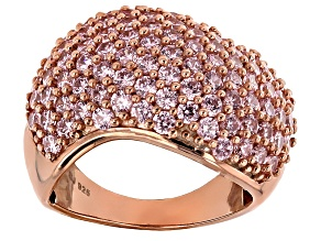 Pink Cubic Zirconia 18k Rose Gold Over Silver Ring 5.70ctw (2.61ctw DEW)