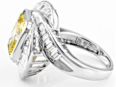 Yellow And White Cubic Zirconia Rhodium Over Silver Ring 9.16ctw