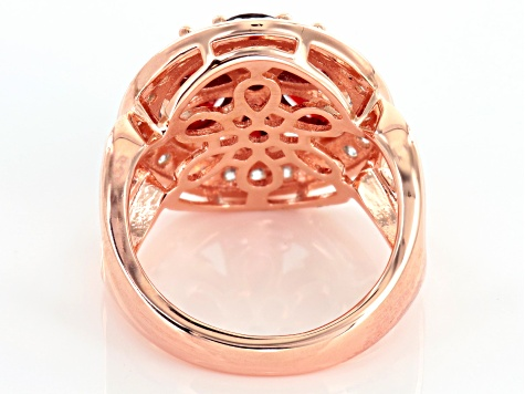 Red And White Cubic Zirconia 18k Rose Gold Over Silver Ring 5.16ctw