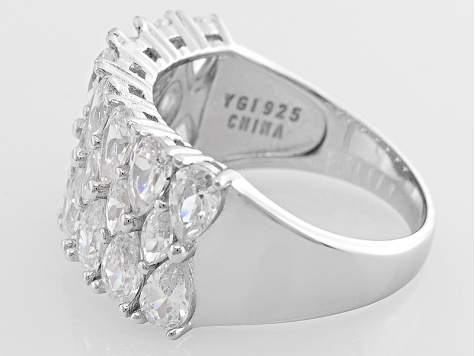 White Cubic Zirconia Rhodium Over Sterling Silver Ring 5 78ctw