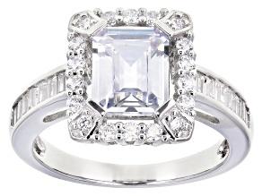 Cubic Zirconia Silver Ring 5.20ctw (3.61ctw DEW)