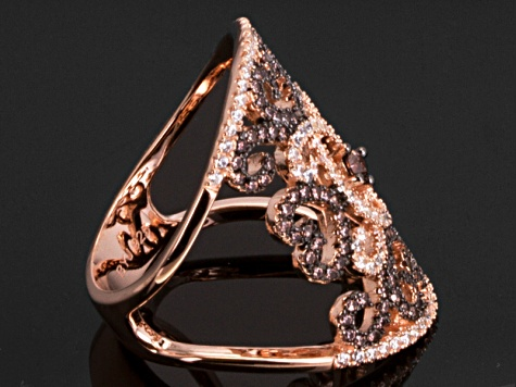 Pre-Owned Brown And White Cubic Zirconia 18k Rose Gold Over Silver Ring 2.08ctw