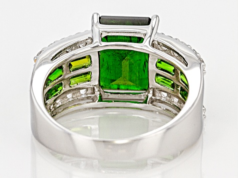 Pre-Owned 3.40ct Emerald Cut With 1.00ctw Baguette Chrome Diopside And .80ctw Round White Topaz Silv