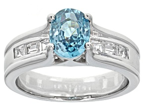 Pre-Owned Blue Zircon Sterling Silver Ring 2.20ctw