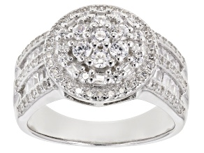 White Cubic Zirconia Sterling Silver Ring 2.00ctw