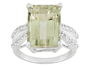 Green prasiolite sterling silver ring 8.31ctw