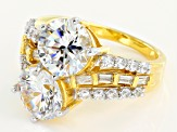 Cubic Zirconia 18k Yellow Gold Over Silver Ring 15.43ctw