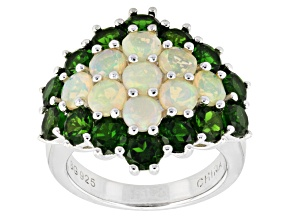 Multicolor Ethiopian Opal Sterling Silver Ring 4.42ctw