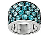 Womens Cigar Band Ring Sparkling Blue Zircon 9ctw Sterling Silver
