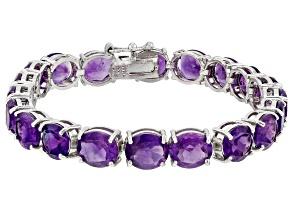 Purple Amethyst Sterling Silver Bracelet 29.00ctw
