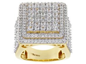 Pre-Owned Cubic Zironia 18k Yellow Gold Over Silver Ring 6.00ctw