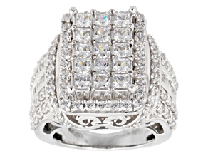 Cubic zirconia silver ring 7.84ctw