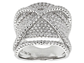 Pre-Owned White Cubic Zirconia Rhodium Over Sterling Silver Ring 2.84ctw