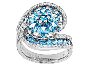 Pre-Owned Blue And White Cubic Zirconia Rhodium Over Sterling Silver Ring 5.85ctw